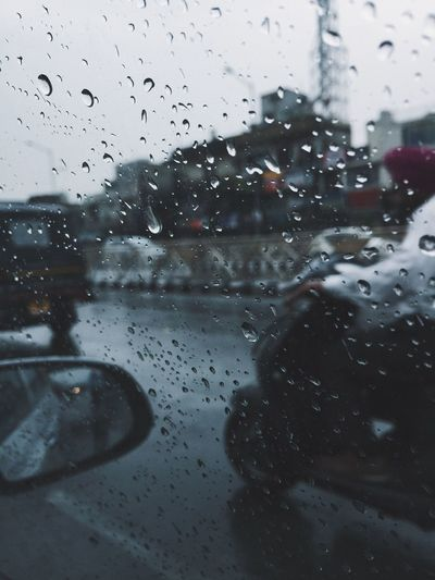 Wet Drop Rain Glass - Material Window Water Transparent Car Land Vehicle Nature Mode Of Transportation Transportation Vehicle Interior Rainy Season Motor Vehicle No People Indoors  RainDrop Road Trip Glass