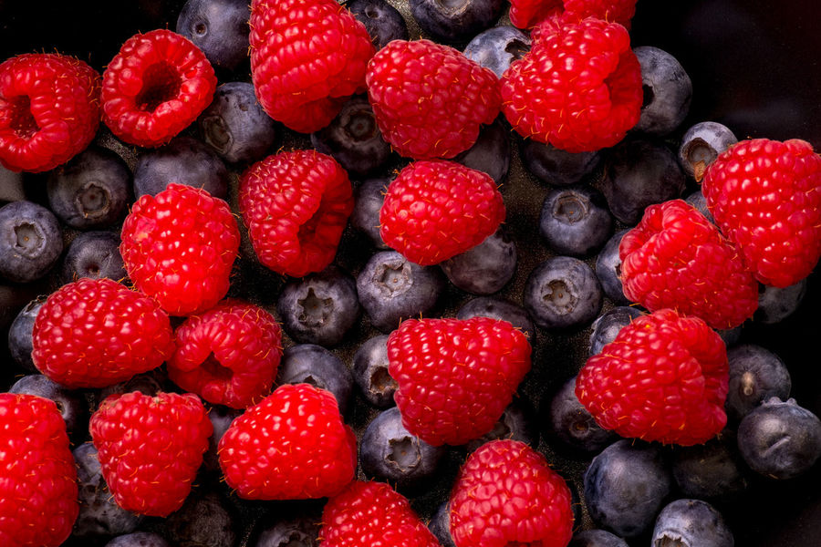 Blueberries and Raspberries Raspberries Red Berry Fruit Blueberries Blueberry Close-up Day Food Food And Drink Freshness Fruit Healthy Healthy Eating Healthy Food Indoors  No People Raspberry Ready-to-eat Red Red And Blue Strawberry Sweet Food Vibrant Vibrant Color
