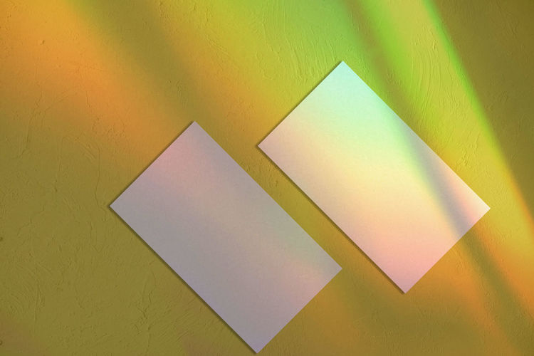 High angle view of yellow paper on table