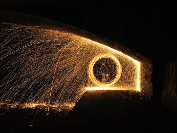 Blurred motion of illuminated lights at night