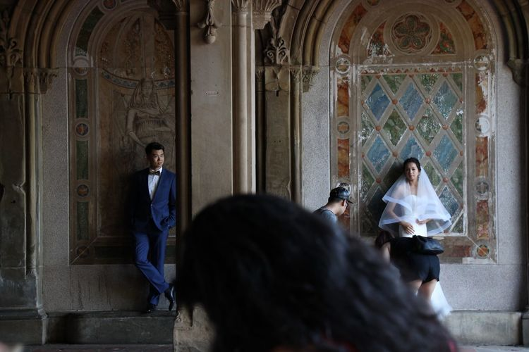 Adult Bride Central Park, New York Day Groom Horizontal Indoors  Marriage  People Person Place Of Worship Religion Shooting Street Photography Two People