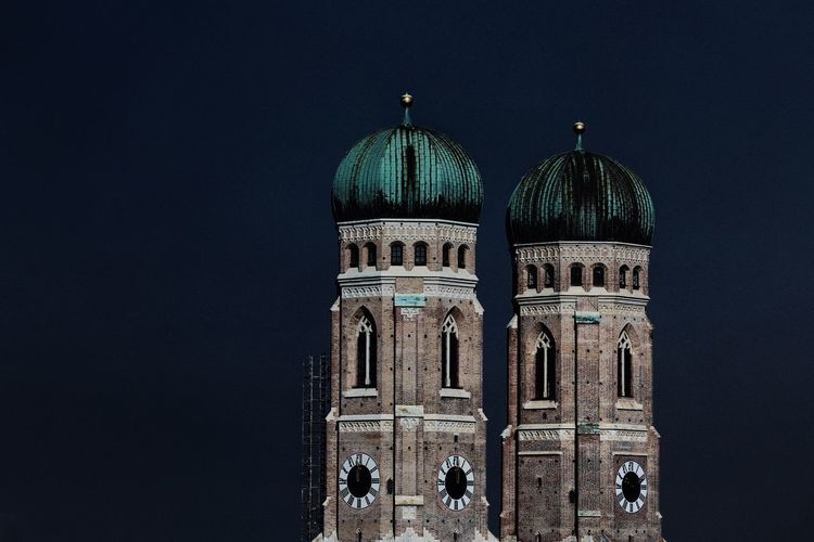 Cathedral against sky at night