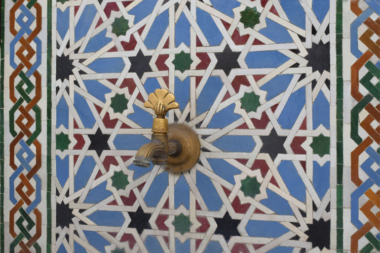 Low angle view of decoration on wall