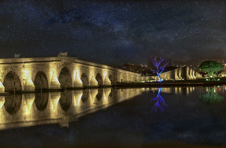 Arch Architectural Column Architecture Bridge Bridge - Man Made Structure Building Exterior Built Structure Connection Illuminated Nature Night No People Outdoors Reflection River Sky Standing Water Travel Destinations Water Waterfront