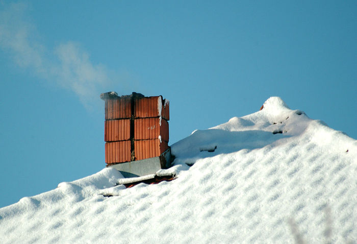 chimney Chimney Day No People Outdoors Rooftop Sky Smoke Snow Winter