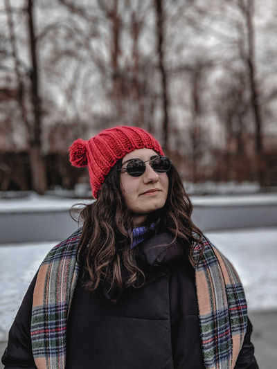 The Portraitist - 2019 EyeEm Awards Warm Clothing Portrait Snow Tree Cold Temperature Winter Beautiful Woman Winter Coat Knit Hat Long Hair Red Lipstick Scarf Coat Snowflake Snowing Overcoat Tobogganing Ice Crystal Trench Coat Frost Snowdrift Ski Jacket Weather Condition Spruce Tree Frozen Water Frozen Frozen Lake Blizzard Snowball The Mobile Photographer - 2019 EyeEm Awards My Best Photo