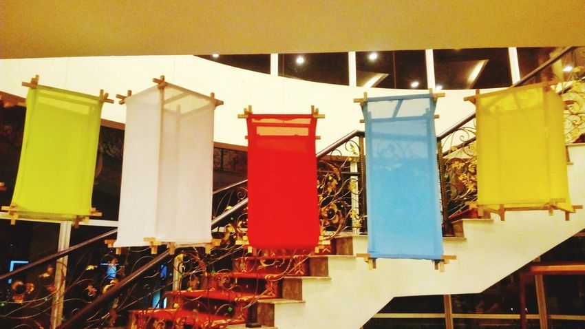 Hanging colorful box decoration No People Architecture Outdoors Day Drying interior Design indoor Fabrick