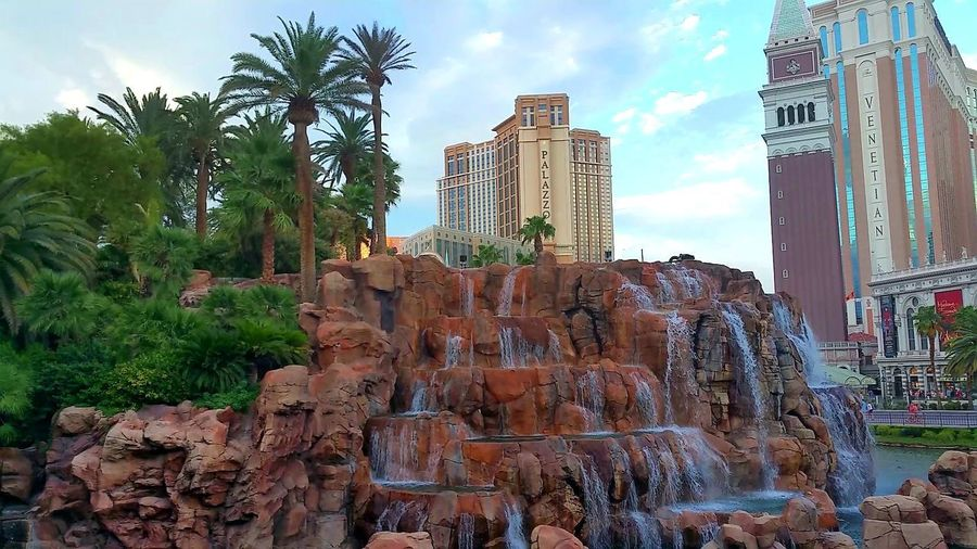 Mirage Hotel Waterfalls Amazing Mirage Hotel Waterfalls💦 Tree Palm Tree Ancient Civilization Sky Architecture Building Exterior Cloud - Sky Sculpture Ancient Rome History Sculpted