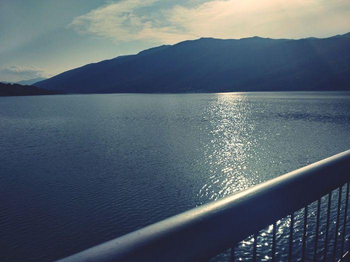 Mountain Lake Reflection Rippled Sky Landscape Shore Sunset Horizon Over Water Ocean Wave Sun