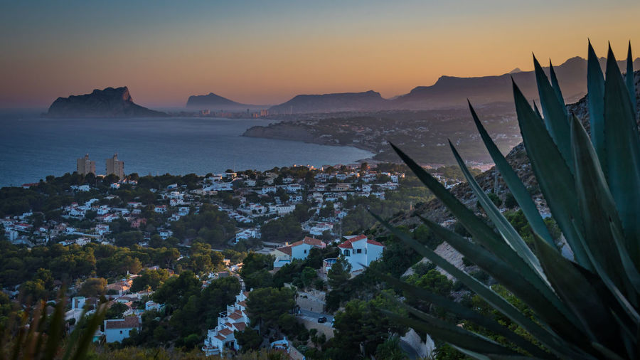 Moraira view to Calp Cactus Calp Calpe Spain Cityscape Moraira SPAIN Agave Architecture Cheesy Mountain Sea Seascape Sunset Town