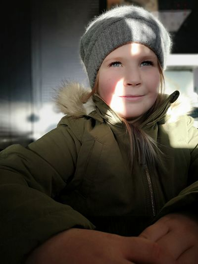 This girl has my ❤️ person Light And Shadow Blue Eyes No Edit/no Filter Huaweiphotography Leicacamera Morning Sweden Real People Light Skin Warm Clothing Portrait Cold Temperature Winter Looking At Camera Child Close-up Winter Coat Knit Hat