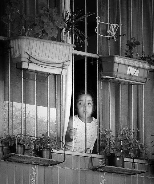 Child At The Window Barred Window Looking For Freedom Blackandwhite Photography Streetlife