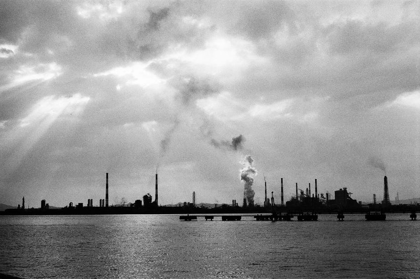Factory twilight view Light And Shadow Taking Photos Landscape_photography Film Photography 35mm Film Black And White Monochrome Factory Twilight Sunset Silhouettes
