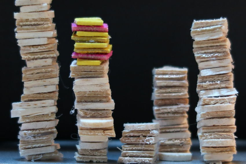 Stacked mini plywood, like library book Balance Black Background Choice Close-up Day Food Indoors  Large Group Of Objects Multi Colored No People Stack Variation