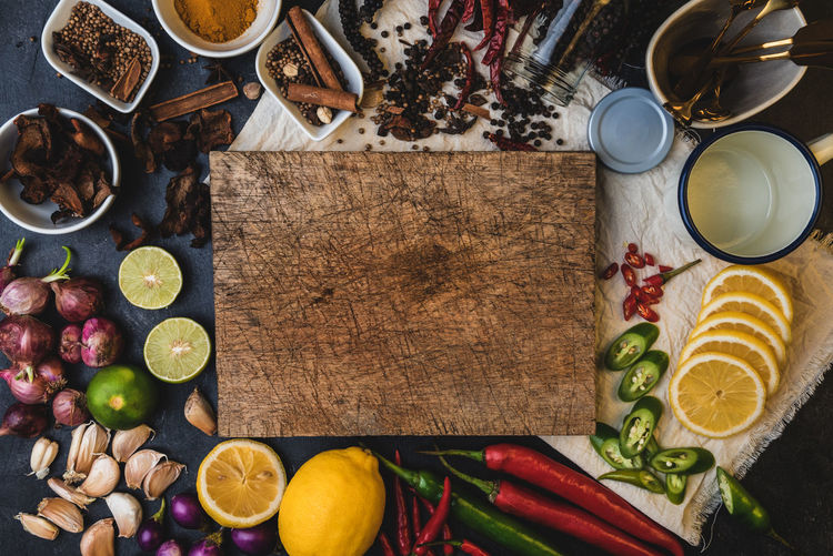 Directly above shot of ingredients on table