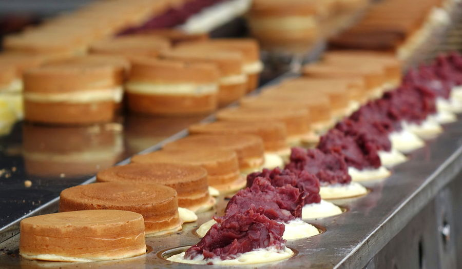 Red bean cakes, a sweet food from Japan, are popular snack in Taiwan Food In A Row Baked Snack Red Bean Cake Red Bean Paste Sweet Food Treat Azuki Beans Cake Batter Japanese Food Imagawayaki