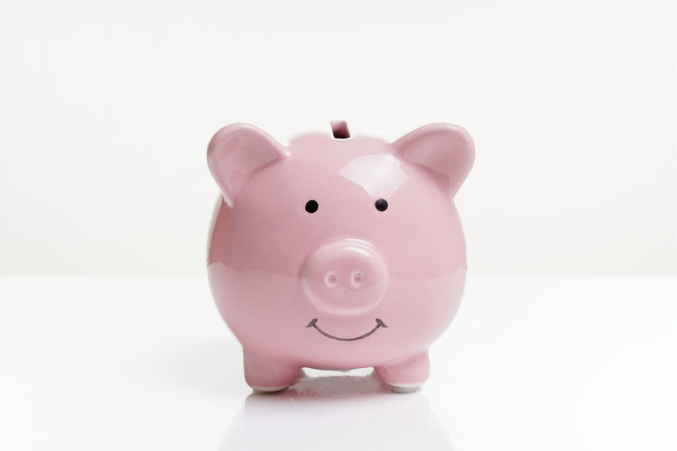 Piggy Bank Savings Studio Shot Pink Color White Background Copy Space Representation Coin Bank No People Piggybank Money Finance Business Money Box Wealth Animal Representation Single Object Smile Smiling