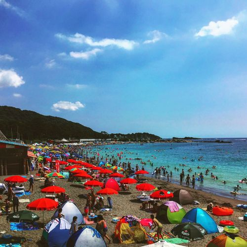 Relaxing Summer Beach Photography Hayama Japan Colorful Red And Blue