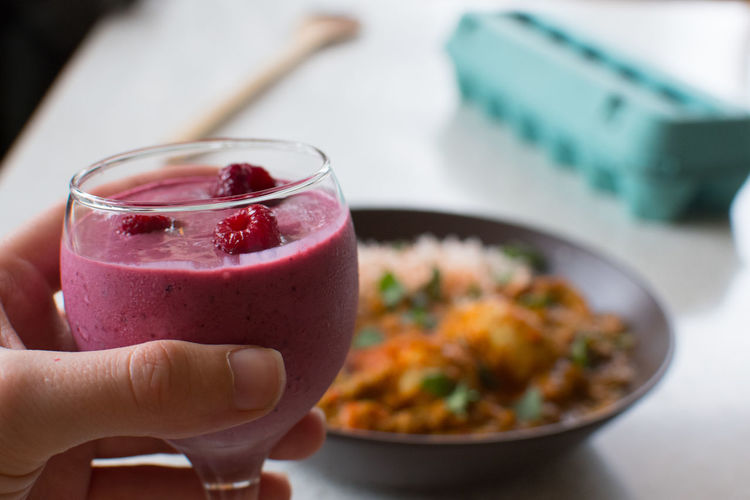 Breakfast Raspberry smoothie Berries Breakfast Close-up Day Drink Drinking Glass Focus On Foreground Food Food And Drink Freshness Healthy Breakfast Healthy Eating Healthy Food Healthy Lifestyle Holding Human Body Part Human Hand Indoors  One Person Raspberries Raspberry Raspberry Smoothie Ready-to-eat Refreshment Smoothie