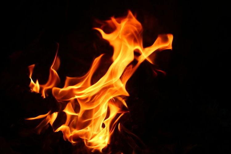 Close-Up Of Fire In Dark