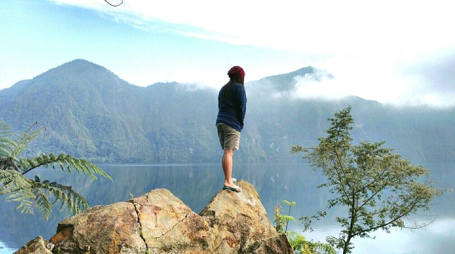 Amazing Lake Holon Philippine Sceneries Lake Travel Destinations Adventures Trekking Nature Photography One Person Adults Only Tree Sky Mountain Adult Mountain Peak People Outdoors Mountain Range Cloud - Sky Adventure Landscape Fog Nature Day