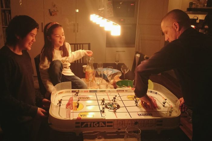 New Year Around The World Family Friends Family Time Check This Out Hello World Popular Photos Popular Playing Games Table Hockey Hockey Fun Joy Children Man Dad Indoors  Sweden Europe