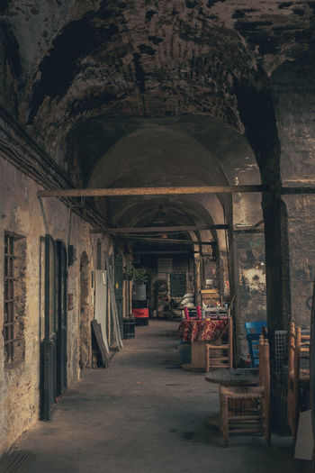Architecture Built Structure Building Indoors  Day The Way Forward Real People Old Arch Arcade Rear View Direction Abandoned People Corridor Seat Full Length Incidental People Standing Architectural Column Ceiling Karaköy Historic My Best Photo