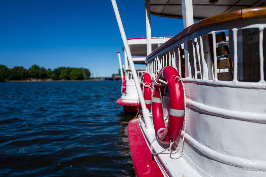 Hamburg Alster Boat Blue Day Mode Of Transportation Moored Nature Nautical Vessel No People Outdoors Passenger Craft Red River Sailboat Sailing Sky Transportation Travel Tree Water