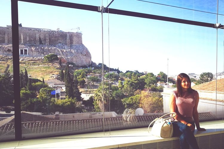 acropolis City Young Women Tree Happiness Women Smiling Carefree City Life Clear Sky Sky