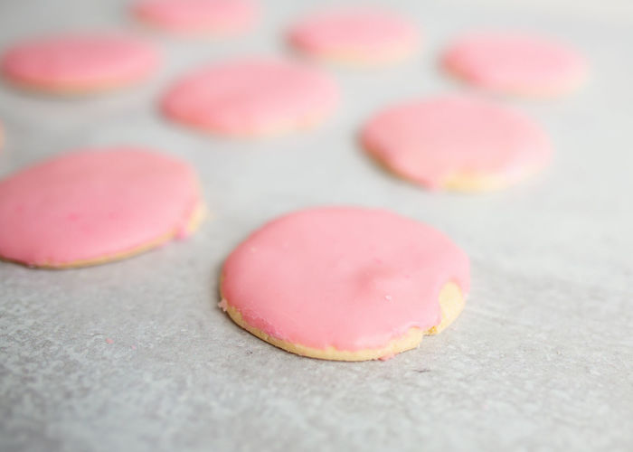 Close-up of pink candies on table