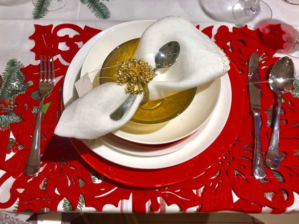Celebration Plate Christmas Table Red No People Christmas Decoration Tablecloth Fork Ribbon - Sewing Item Indoors  Napkin Gift Close-up Food Day