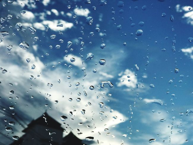 Drop Water Window Wet Rain No People Full Frame Backgrounds RainDrop Close-up Indoors  Day Nature Sky