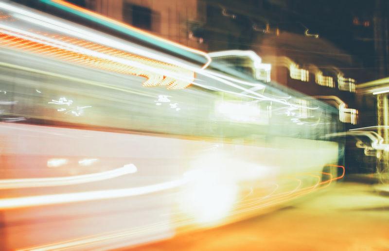 Bus Motion Long Exposure Illuminated Blurred Motion Speed Mode Of Transportation Transportation No People Light Trail Land Vehicle Architecture Glass - Material Public Transportation City Night Transparent Motor Vehicle EyeEm Best Shots EyeEm Selects