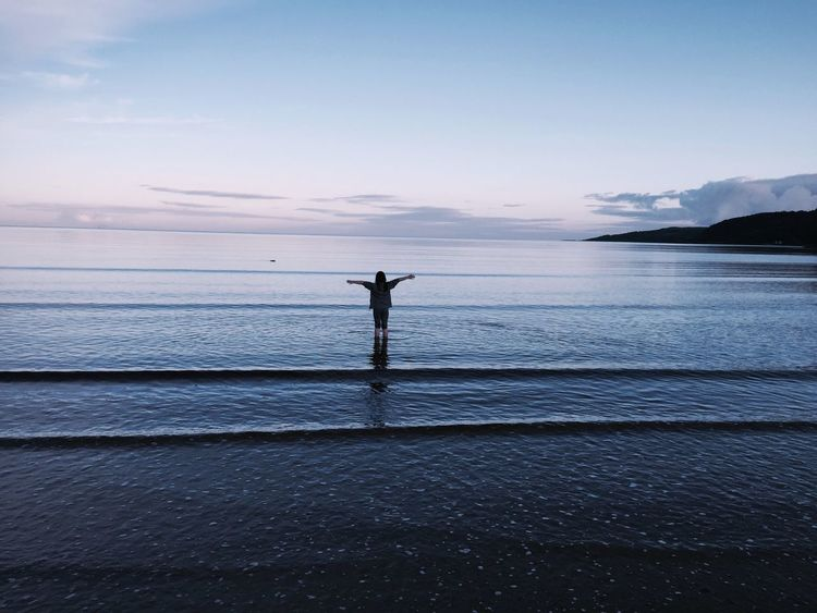 Carradale at Sunset - my daughter paddling- West Coast of Scotland Water Sea Silhouette Sky Sunset Horizon Over Water First Eyeem Photo