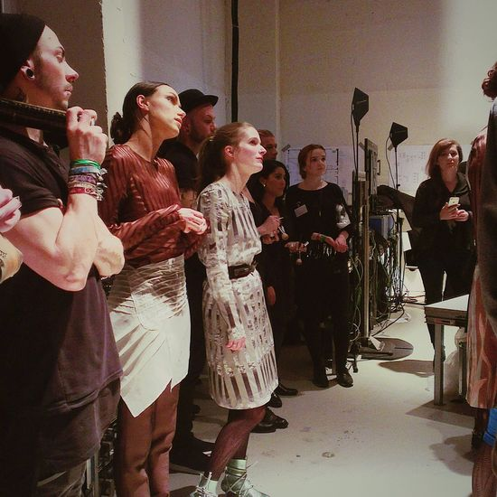 Designer Clara Kaesdorf and Models getting ready for their show at Berlin Fashion Week Fashionweek 2015 Berlin ClaraKaesdorf Sustainability Urban Style Fashion Design Runway Stories From The City
