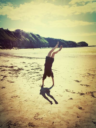 life at the beach... :) Summer ☀ Bikini Time❤ Handstand ♥  Cheerleading♡ #practice #sand