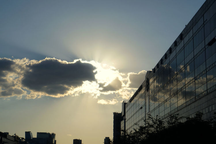 Reflection Architecture Beauty In Nature Building Building Exterior Built Structure City Cloud - Sky Day Low Angle View Nature No People Office Office Building Exterior Outdoors Silhouette Sky Sun Sunbeam Sunlight Sunset