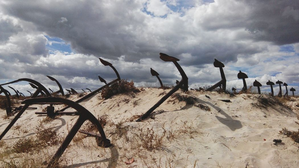 Beach Sand Cloud - Sky Sky Tranquil Scene Cloud Shore Arid Climate Scenics Outdoors Algarve Praia Do Barril Barril Beach Bower Water Anchor Anchors Anchored Anchorage Anchor Dunes Dunas Ancoras Ancora Remote Landscape