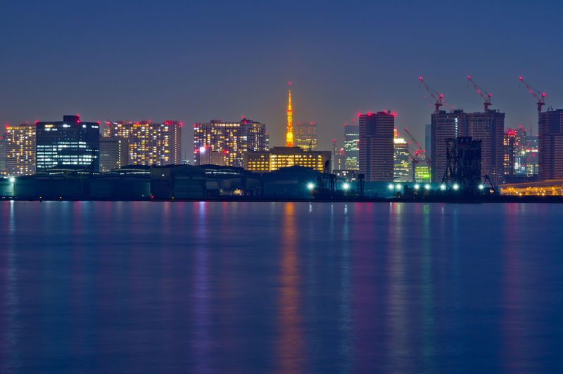 Architecture Building Exterior Built Structure Building Illuminated Waterfront City Water Night Sky Reflection Office Building Exterior No People Landscape Urban Skyline Tall - High Nature Skyscraper River Outdoors Cityscape Modern Financial District  Tokyo Tokyo Bay Tokyo Tower Tokyotower Japan Japan Photography Sea