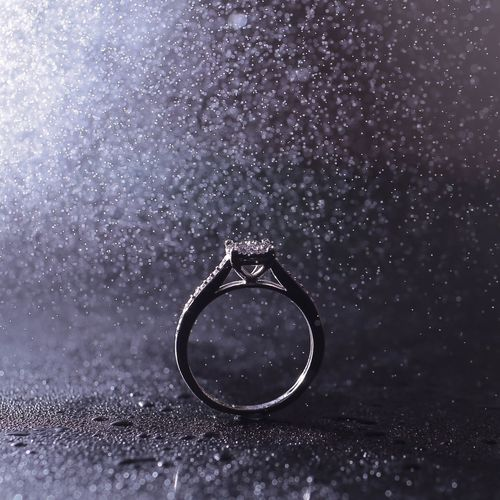 Close-Up Of Diamond Ring During Rainfall