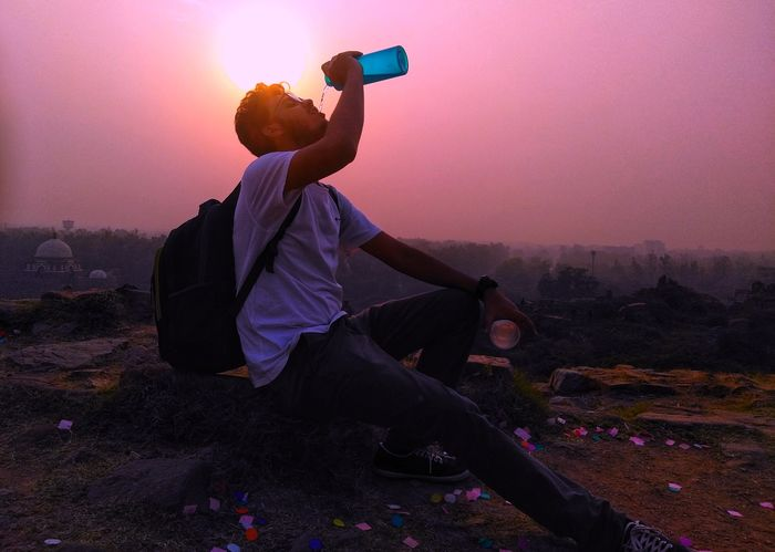Evening Water Drinking Water Thirsty  Drinking Drinking Water Sunset_collection Sunset Full Length Sunset Men Sky Photographer Purple Countryside Camera Camera - Photographic Equipment Foggy