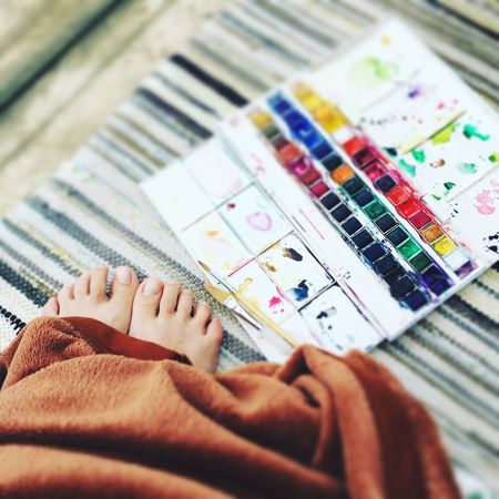 Time to relax Colors Painting Art Watercolor Soft Covers Feet Human Body Part Leisure Activity Human Leg One Person Women Multi Colored