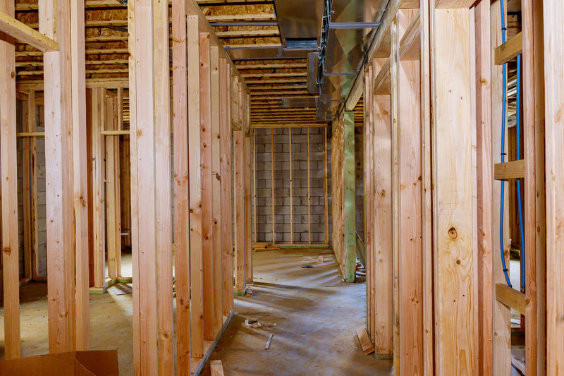 Corridor of building at construction site