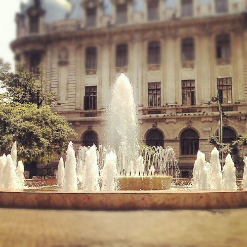 The fountain... Instagram Instaphoto Photography Dailyphoto photooftheday picoftheday htclegend popular fountain water summer square Universitate Bucharest city