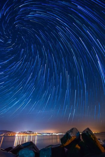 Star Trail Vortex Night Nightphotography Night Sky Sky Star - Space Space Nature Outdoors Star Long Exposure