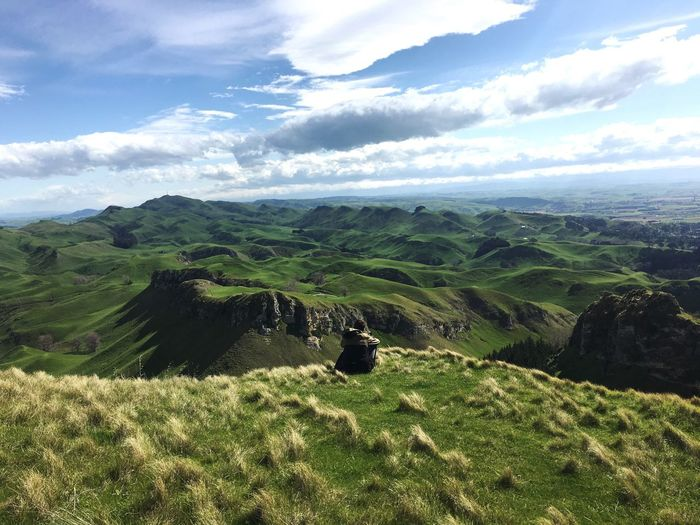 Scenic view of te mata peak against sky