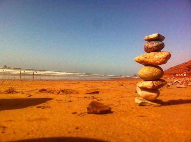 Piling rocks. Morroco Legzira Rock Pile Beach