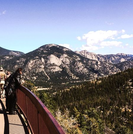 What a view! Rocky Mountain National Park. Mountain Mountain Range Railing Nature Beauty In Nature Scenics EyeEmNewHere Tree Day Tranquility Landscape Sky Tranquil Scene Outdoors Cloud - Sky