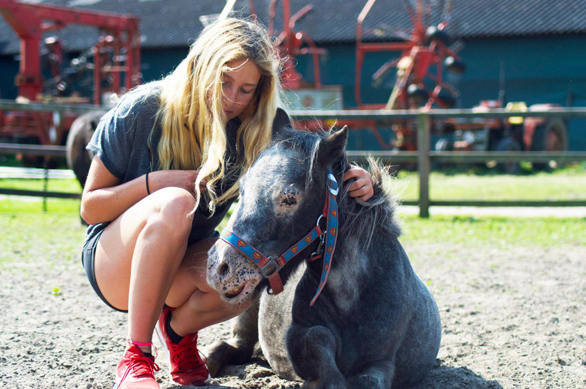 Abused Horse Blonde Girl Care Domestic Animals Friendship Front View Horse Shelter Livestock Long Hair Outdoors Padlock Sadness Take Taking Care Togetherness