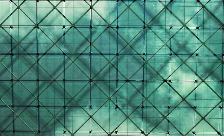 Glass Roof Multiple Layers Light And Shadow Color Turquoise By Motorola Geometric Lines Lookingup Clouds And Sky